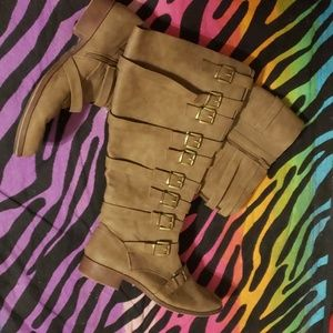 *SOLD* Torrid 12.5 Strappy Taupe Boots -Worn Once